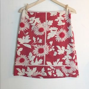 Ann Taylor Floral Skirt With Zigzag Detail